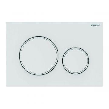 Geberit Sigma20 bedieningspaneel 2-knops, plaat wit mat gelakt, knoppen wit mat gelakt, randen wit