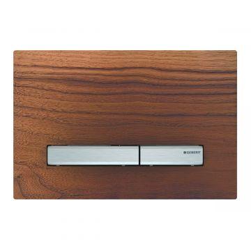 Geberit Sigma50 bedieningspaneel 2-knops, plaat Amerikaans Noten, knoppen chroom