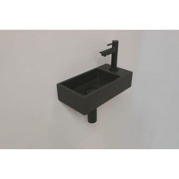 INK Versus fonteinpack 360x90x180 mm, quartz, afzetplateau rechts, incl. fonteinkraan, design sifon, design plug en montageset, zwart/mat zwart