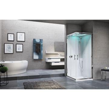 Novellini Eon A stoomcabine met hydromassage en chromolight 90 x 90 cm met wit paneel en mat chroom profiel, helder glas