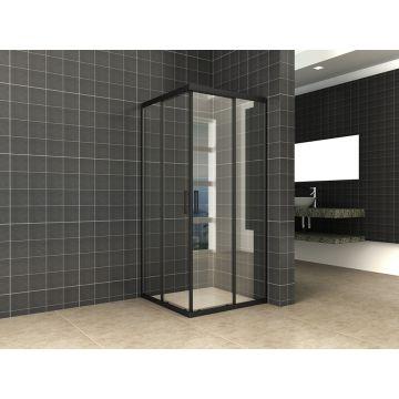 Wiesbaden Skyline hoekinstap met 2 schuifdeuren 90x90x200 cm, 8 mm Nano-glas, mat zwart