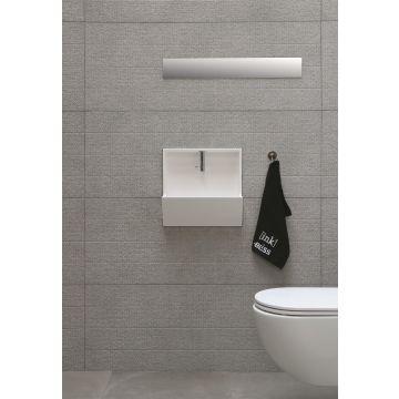 INK Recess inbouwfontein 40x21x40 cm, polystone, inclusief kraan, sifon en afvoerplug, glans wit