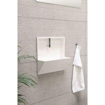 INK Recess inbouwfontein 40x21x40 cm, polystone, inclusief kraan, sifon en afvoerplug, mat wit