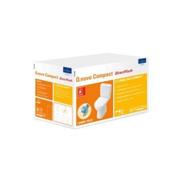 Villeroy & Boch O.novo combi-pack met ceramic+ Compact closet, PK DirectFlush reservoir en zitting met softclose en quick release wit