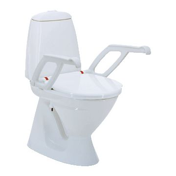 Invacare Aquatec 90000 toiletverhoger + 10cm m. deksel m. armleuning wit 831101