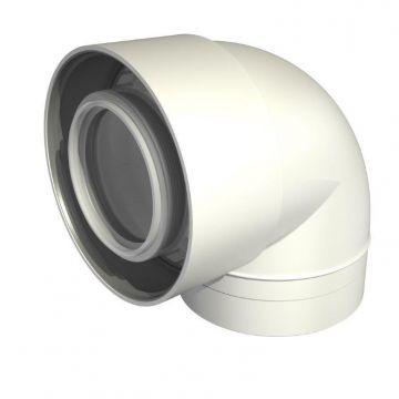 Ubbink UbiFit rookgasafvoer-, luchttoevoerbocht 60/100mm 87° PP, concentrisch wit 0229239