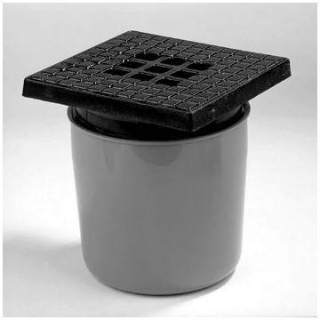Dyka ABS vloerput m. gietijzeren rooster m. onderuitlaat 75mm 20x20cm inbouwdiepte 190-200mm m. waterslot 50mm