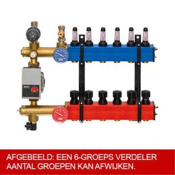 Komfort SBK 4803 verdeler vloerverwarming bovenaansluiting m. energiezuinige A-label pomp 4-groeps