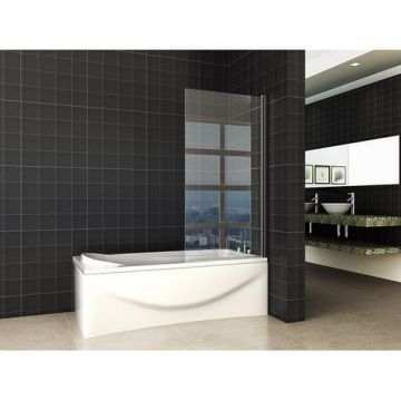 Wiesbaden Orbit draaibare badwand 800x1400 mm, 6 mm Nano-glas, mat zwart