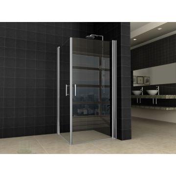 Wiesbaden Twice douchecabine met dubbele deur 90x90 cm, 8 mm Nano-glas