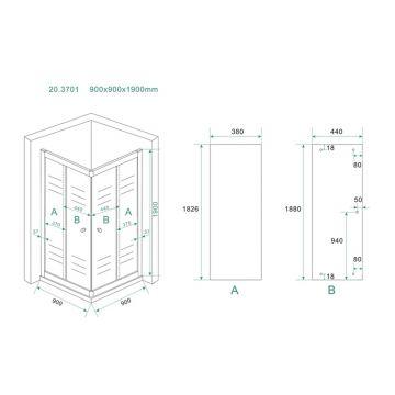 Wiesbaden Eco hoekinstap douchecabine 5 mm 900x900x1900 mm, helder glas
