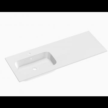 Sub 148 wastafel 120,5 x 45 cm met 1 kraangat links, mat wit