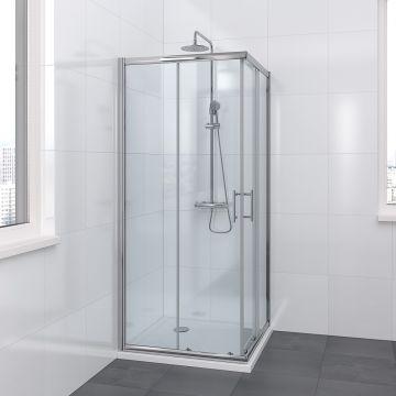 Bruynzeel Riva douchecabine hoekinstap met schuifdeuren 90x90x195 cm, helder veiligheidsglas, chroom profiel