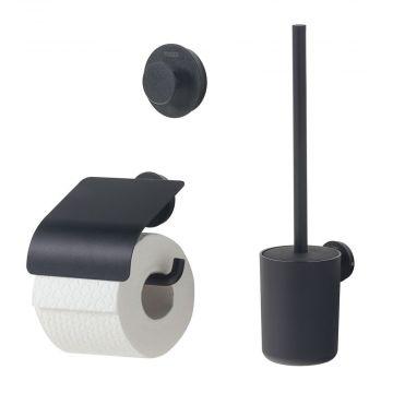 Tiger Urban toiletaccessoireset - toiletborstel met houder - toiletrolhouder met klep - haak, zwart