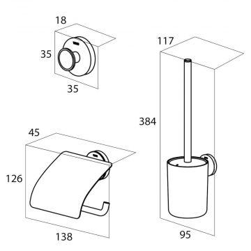 Tiger Urban toiletaccessoireset - toiletborstel met houder - toiletrolhouder met klep - haak -, wit