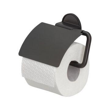 Tiger Tune toiletrolhouder met klep 12,3 x 15 x 3,3 cm, geborsteld zwart metaal / zwart