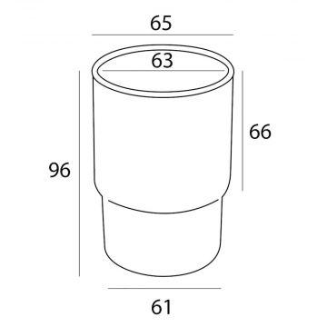 Tiger bekerglas geschikt voor Boston, Impuls en Ramos serie 9,6 x 6,5 cm, mat glas