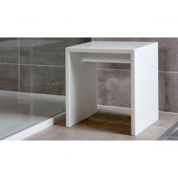 Xenz Solid Surface Cubic bankje 45 x 45 x 50 cm, wit
