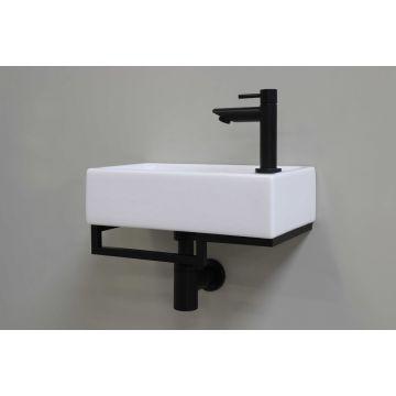 Sub stalen fonteinframe met handdoekhouder links, mat zwart