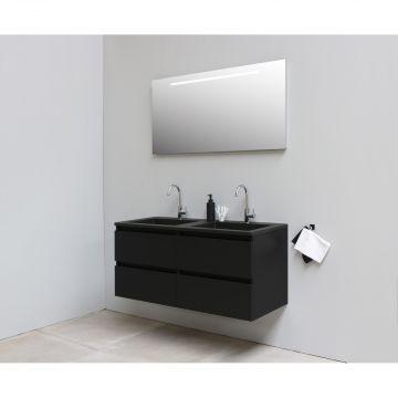 Sub Online onderkast met acryl wastafel slate structuur 2 kraangaten met spiegel met geintegreerde LED verlichting 120x55x46cm, mat zwart