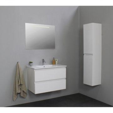 Sub Online onderkast met porseleinen wastafel 1 kraangat met spiegel met geintegreerde LED verlichting 80x55x46cm, hoogglans wit