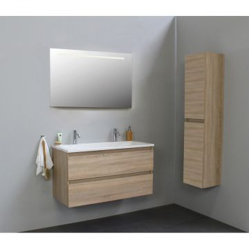 Sub Online flatpack onderkast met acryl wastafel 2 kraangaten met spiegel met geintegreerde LED verlichting 100x55x46cm, eiken