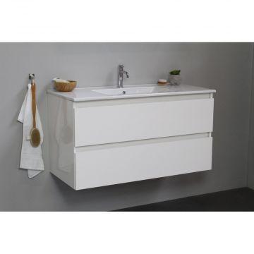 Sub Online flatpack onderkast met porseleinen wastafel 1 kraangat 100x55x46cm, hoogglans wit