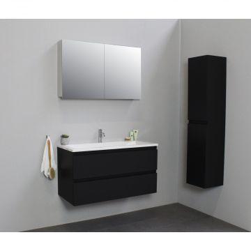 Sub Online flatpack onderkast met acryl wastafel 1 kraangat met 2 deurs spiegelkast grijs 100x55x46cm, mat zwart