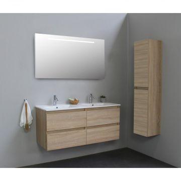 Sub Online flatpack onderkast met porseleinen wastafel 2 kraangaten met spiegel met geintegreerde LED verlichting 120x55x46cm, eiken