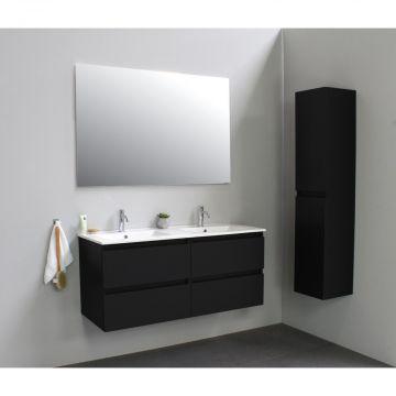 Sub Online flatpack onderkast met porseleinen wastafel 2 kraangaten 120x55x46cm, mat zwart