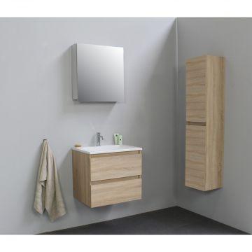 Sub Online flatpack onderkast met acryl wastafel 1 kraangat met 1 deurs spiegelkast grijs 60x55x46cm, eiken