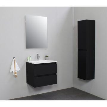Sub Online flatpack onderkast met acryl wastafel 1 kraangat met spiegel 60x55x46cm, mat zwart
