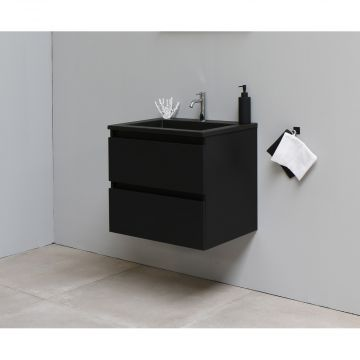 Sub Online flatpack onderkast met acryl wastafel slate structuur 1 kraangat 60x55x46cm, mat zwart