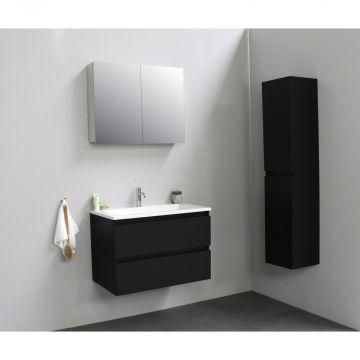 Sub Online flatpack onderkast met acryl wastafel 1 kraangat met 2 deurs spiegelkast grijs 80x55x46cm, mat zwart