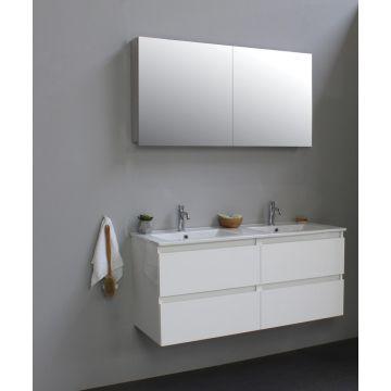 Sub Online flatpack onderkast met porseleinen wastafel 2 kraangaten met 2 deurs spiegelkast grijs 120x55x46cm, hoogglans wit