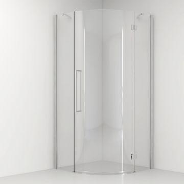 Van Rijn ST05 kwartronde douchecabine 200 cm x 87-89 cm, 8 mm helder veiligheidsglas, chromen profiel en stabilisatiestangen van 45 graden, links- of rechtsdraaiend te monterenL/R