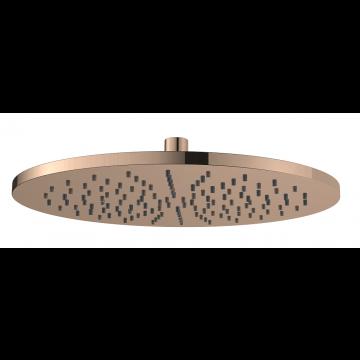 Regn hoofddouche rond 30 cm, geborsteld koper