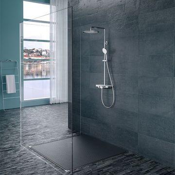 Wiesbaden Nuovo smart douche opbouwdoucheset met planchet, hoofddouche en handdouche, chroom