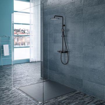 Wiesbaden Nuovo smart douche opbouwdoucheset met planchet, hoofddouche en handdouche, mat zwart