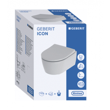 Geberit iCon compact wc-pack, wandcloset 49 cm met Rimfree en diepspoel, met Softclose- en Quick Release-zitting, wit