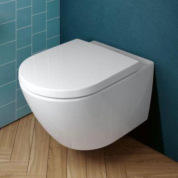 Villeroy & Boch Subway 3.0 Combi-pack met Rimless hangend toilet met TwistFlush en toiletzitting 40 x 37 x 56 cm, wit