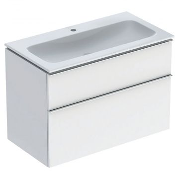 Geberit iCon wastafel 90 cm, met KeraTect, met onderkast met 2 laden, wit/chroom