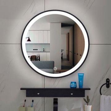 Sub Lista Nera spiegel rond met LED verlichting, dimbaar 60 cm, mat zwart