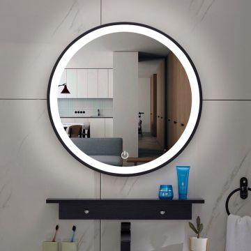 Sub Lista Nera spiegel rond met LED verlichting, dimbaar 80 cm, mat zwart