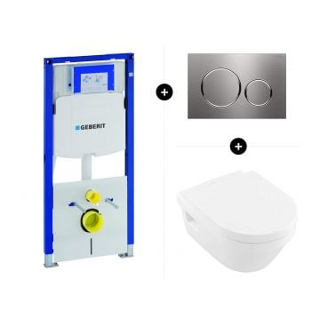 Geberit UP320 toiletset - inclusief Geberit Sigma bedieningsplaat & Villeroy & Boch Architectura CombiPack