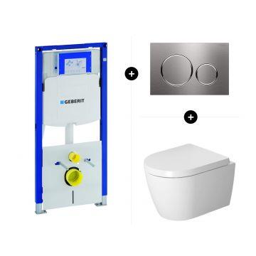 Geberit UP320 toiletset - inclusief Geberit Sigma bedieningsplaat & Duravit Me by Starck wandcloset compact pack
