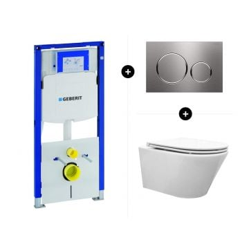 Geberit UP320 toiletset - inclusief Geberit Sigma bedieningsplaat & Wiesbaden Vesta rimless toilet met toiletzitting