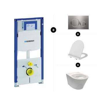 Geberit UP320 toiletset - inclusief Geberit Sigma bedieningsplaat & Sub 104 hangend toilet spoelrandloos Clean met toiletzitting