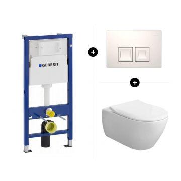 Geberit UP100 toiletset - inclusief bedieningsplaat & Villeroy & Boch Subway 2.0 hangend toilet diepspoel CeramicPlus Directflush met toiletzitting SlimSeat en softclose en quickrelease