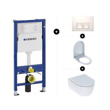 Geberit UP100 toiletset - inclusief bedieningsplaat & Geberit iCon hangend toilet Rimfree met toiletzitting